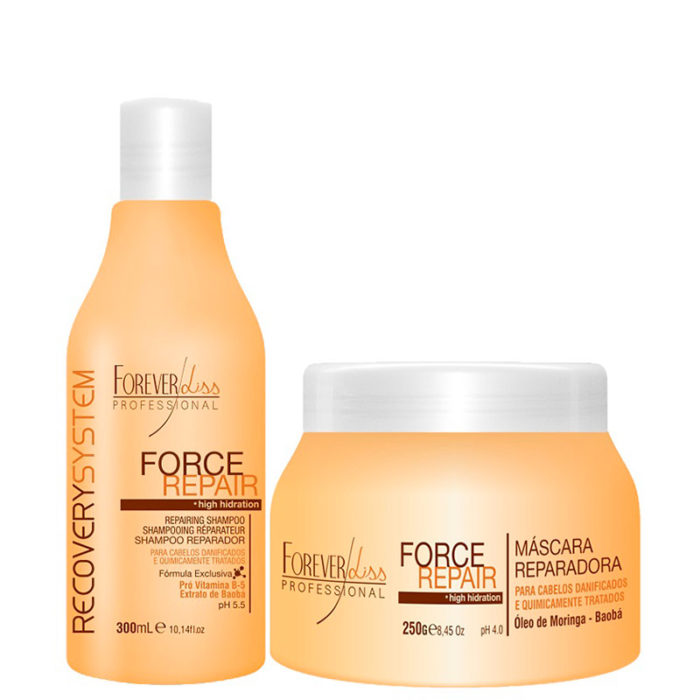 Kit Force Repair Shampoo e Máscara Forever Liss 1